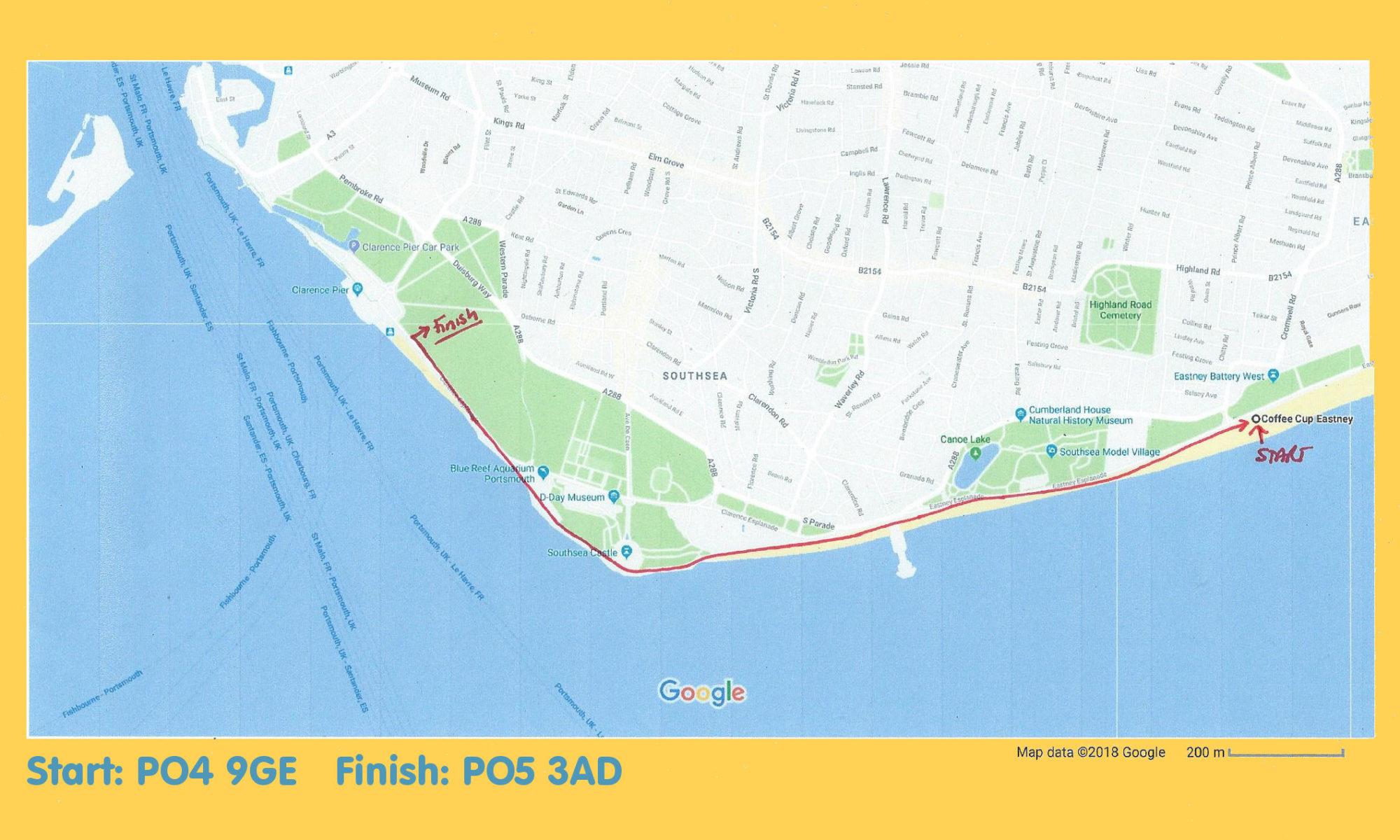 2018-06-24 Southsea Westie Walk route